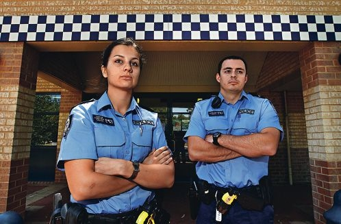 Belmont constables Cherie Carter and Lucas Cope. Picture: Elle Borgward d410783