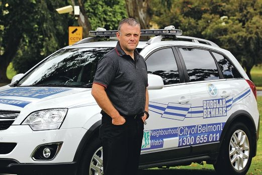 Community Safety and Crime Prevention co-ordinator Graeme Todd with a new Community Watch vehicle. Picture: Martin Kennealey www.communitypix.com.au d410726