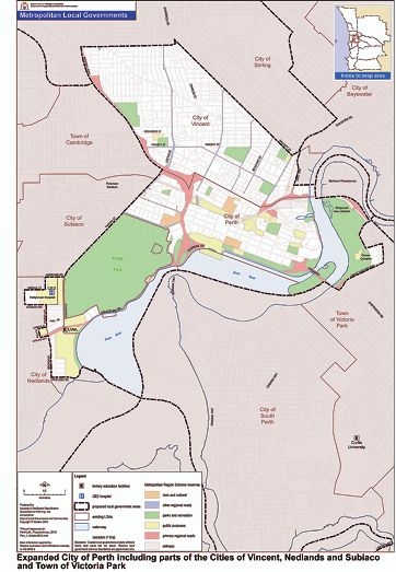The State Government's proposed City of Perth boundaries as presented to the Local Government Advisory Board.
