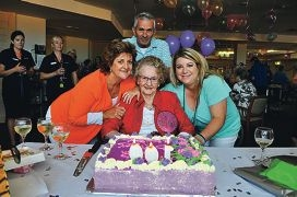 Leslie O'Mara celebrates her birthday with daughter Kerry Pedrola son-in-law David, and grand-daughter Leanne Wood.