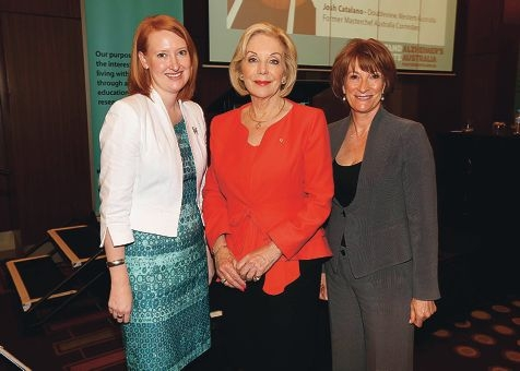Ita Buttrose with (left) MLC Donna Faragher and Rhonda Parker, chief executive of Alzheimer's Australia WA.