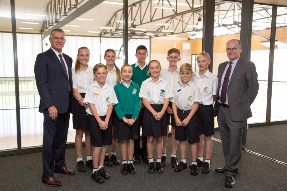 Former principals Allan Shaw and Doug Swindler with students, at back, Maddison Taylor, Jessica Grey, Leon Zahos, Kaine Fisher and Keir Liddell, and at front, Travis Woolley, Laila Peacock, Samantha Buckingham and David Judd.