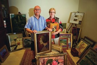 Artist, Michel Job with his partner Anne Aldegheri (NAMES OK). Michel will be exhibiting his work in Wanneroo