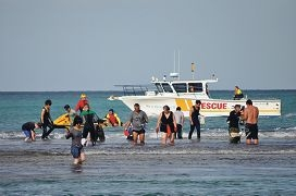 Two Rocks Volunteer Marine Rescue Group and the Wesfarmers emergency response team outside the lagoon.