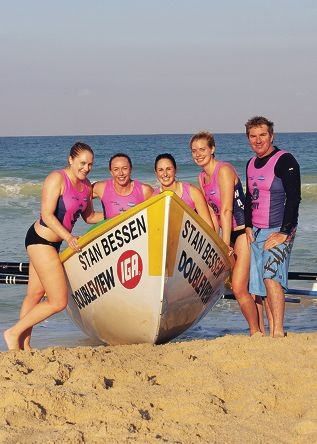 Scarboro Shadows crew (from left) Jess Donnelly, Elisha Single, Candice Bashall, Claire Lea and sweep Justin Donnelly train at Scarborough Beach.