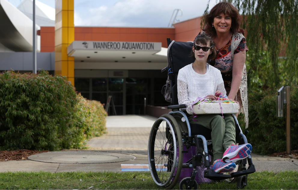 Nowhere to park: Jacqui Innis and daughter Brandi. Picture: Martin Kennealey www.communitypix.com.au   d453555