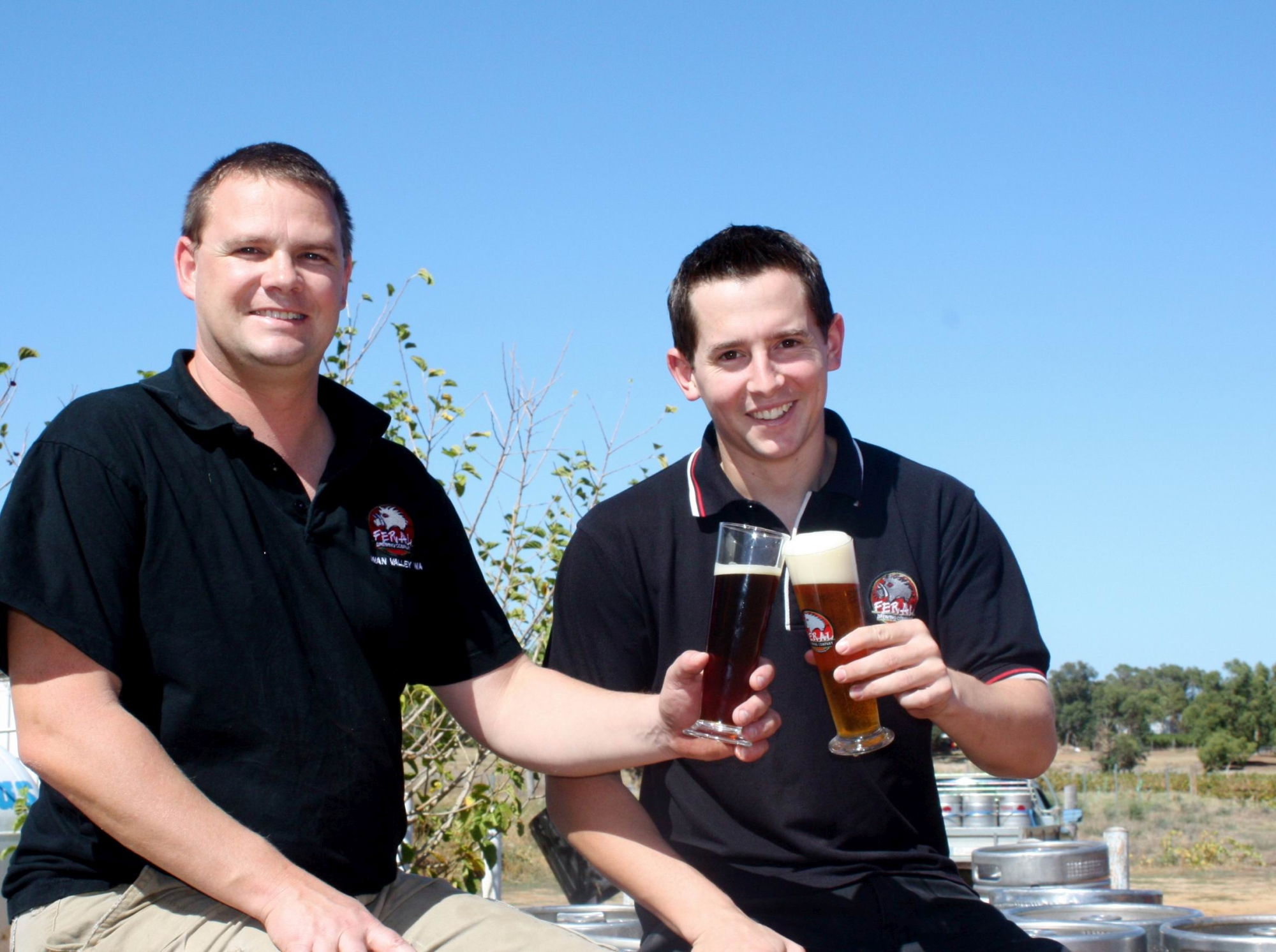Feral Brewing Company owner Brendan Varis and Will Irving.