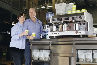 Leaf Bean Machine owners Fleur and Brad Cassidy will provide free hot drinks at Homeless Connect. Picture: Martin Kennealey www.communitypix.com.au d410347