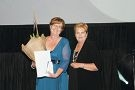 Winner Donna Petersen with WA Nurses Charitable Memorial Trust's Gail Milner. Picture: Courtney Holloway