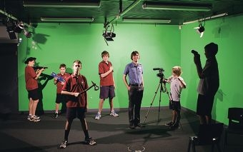 Media teacher Dylan Tilbury with Year 7 students Lachlan Smart, Cameron Johnson, Connor Peat, Jacob Head, Cullen Mackie and Cameron McKenney. Picture: Martin Kennealey d410417