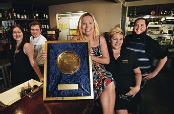 Manager Ashton Boaden, executive chef Shannon Whitmore, owner Vanessa Phillipson, restaurant supervisor Kirsty Locke and head chef James Craig. Picture: Elle Borgward d410488