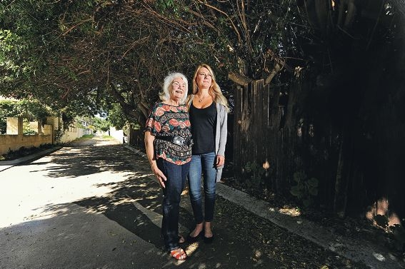 A relieved and happy Monica Matthee and Rachelle Griffiths in the laneway that is being upgraded. Picture: Marcus Whisson www.communitypix.com.au d410564