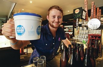 The Monk bar tender Andrew Glendenning is raising funds for the UGLY Bartender campaign. Picture: Elle Borgward www.communitypix.com.au d409853
