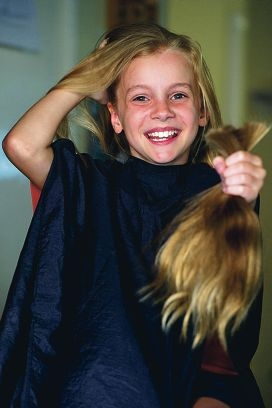 Emily McDermott (10) cut off her hair for Locks of Love. Picture: Emma Reeves 409861