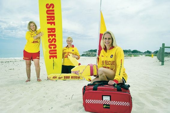 Sorrento surf lifesavers: Christine Cougan, Kerry Yates and Kelli Dawson are preparing for the summer beach season. d410299