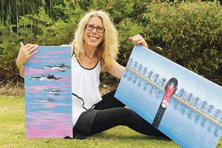 Artist Sophia Williams with some of her bright and colourful paintings of the birds she has come to love near her home in Mandurah. Picture: Jon Hewson www.communitypix.com.au d409527