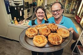 Cassie and Gary Cooper with their popular pies. Picture: Bruce Hunt d409726