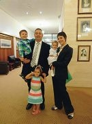 Peter Katsambanis with his wife Karalee and their children.
