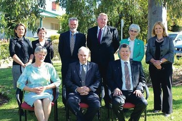 The new Toodyay council (seated) Bethan Lloyd (deputy shire president), David Dow (shire president) and Stan Scott (CEO), and back: Therese Chitty, Rosemary Madacsi, Brian Rayner, Andrew McCann, Sally Craddock and Paula Greenway.