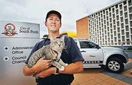 City of South Perth community ranger Paul Fromont with Johnny. Picture: David Baylis www.communitypix.com.au d409590