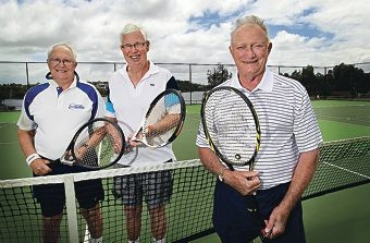 Past presidents of the East Fremantle Lawn Tennis Club Peter Field, Geoff Cook and Arthur Marshall are looking forward to celebrating with the club this month. d409384