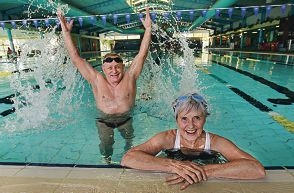 Belmont Masters Swimming Club president Bill Mortimer and life member of the club Hilary Arber. Picture: Elle Borgward www.communitypix.com.au d409647