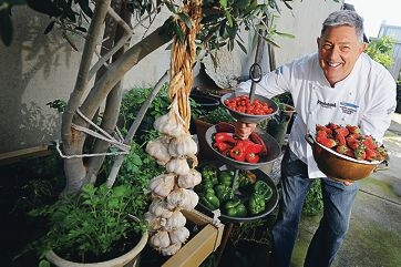 WA food ambassador Don Hancey in his herb garden at Panorama Catering in Osborne Park.