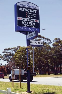 One of the illuminated signs that Wanneroo businesses can rent in the City.