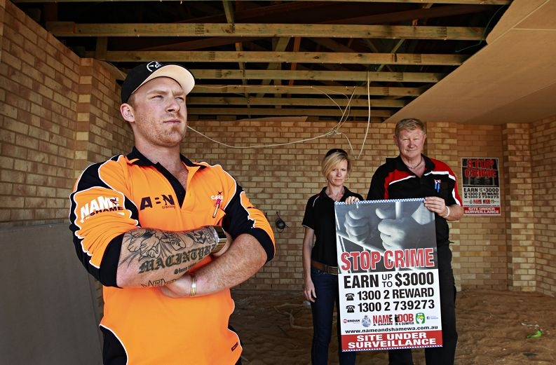 Fed up with b uilding site theft and damage are (from left) Matt Macintyre (Celebration Homes), Nicola Weaver (Meridian Services) and Mal Eppen (Home Buyers Centre). Picture: Elle Borgward d409311
