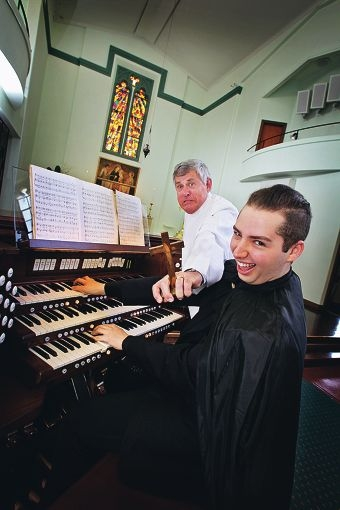 Organist Alessandro Pittorino and the Reverend John Meagher get creepy ahead of the Halloween Horror Symphony. Picture: David Baylis www.communitypix.com.au d408918