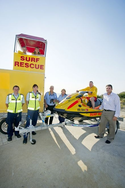 City of Wanneroo rangers Mark Hastle and Ruth Piper, David Haynes and Pam Annesley from Two Rocks Marine Rescue, Yanchep SLSC president John Heesters and Surf Life Saving WA community safety manager Chris Peck. Top: Yanchep SLSC registrar Bev Heesters and vice-president Sharon Taylor. Picture: Emma Reeves d409646