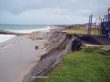 Quinns Rocks foreshore on September 23, when erosion and storm damage prompted the closure of the playground and car park.