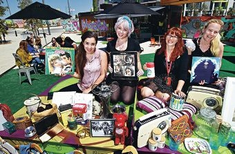 Jennelle Horsford, Becky Loring, Vicky Hartill and Emma Rae get ready for the sale. Picture: Elle Borgward www.communitypix.com.au d409491