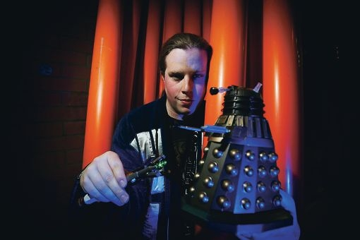 Take me to your leader... Aaron Creaser is president of the Doctor Who fan club the West Lodge. Picture: Andrew Ritchie www.communitypix.com.au d411249