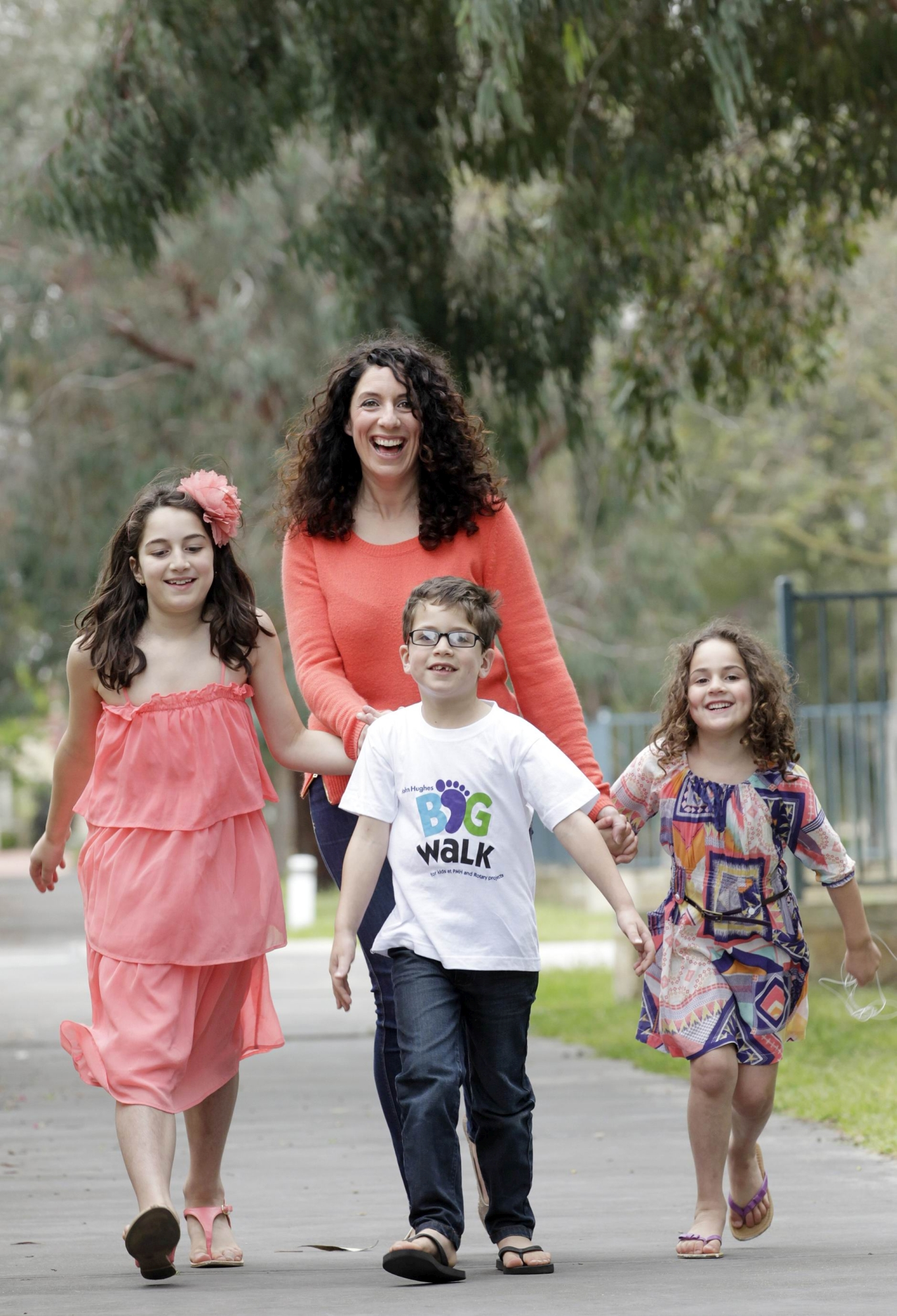 Nadia Tomeo and children Ava, Michael and Lucia will take part in the John Hughes Big Walk.