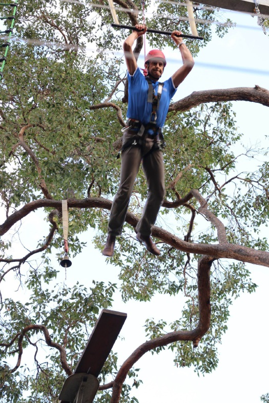 Community Services Minister Tony Simpson takes the leap of faith at Bickley Recreation Camp. Picture: City of Gosnells