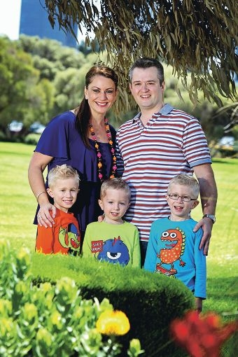 Rabia Siddique and Anthony Green of South Perth, with their sons Noah, Aaron and Oscar.