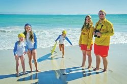 From Left: Sophia Lumb (7 yrs), Maddy Hopkins (9 yrs), Katie Hopkins (7 yrs), Cassie Choake (16 yrs), Jack Mourat are members of Quinns Mindarie Surf Life Saving Club getting ready for Patrol season to start