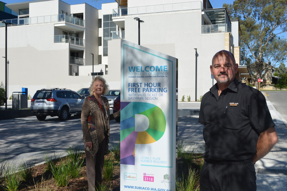 Parking in Subiaco will be easier after the opening of the upgraded carpark at Forrest Square, according to Subiaco Mayor Heather Henderson and Farmer Jacks store manager Neil Mascot. Picture: Lisa Thomas