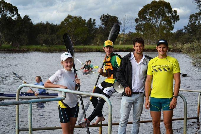 Yasemin Ray (12) and Tim Feasey (12), from Bayswater Paddlesports Club, with Olympians Jesse Phillips and Stephen Bird. Picture: Sarah Motherwell