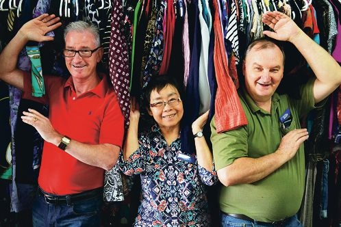 Vinnies Belmont shop manager Collin Finnigan with volunteers Maureen Massang and Garry Shields. Picture: Sarah Motherwell d409380