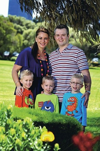 Happy at home in South Perth is Rabia Siddique, husband Anthony Green and sons Noah, Aaron and Oscar. Picture: David Baylis www.communitypix.com.au d409365