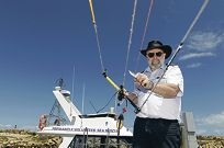 Fremantle Volunteer Sea Rescue fleet manager Nick Hill knows kite safety. Picture: Martin Kennealey d409290