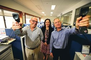 David Kelly and Andrew Walton with Lifeline CEO Fiona Kalaf.