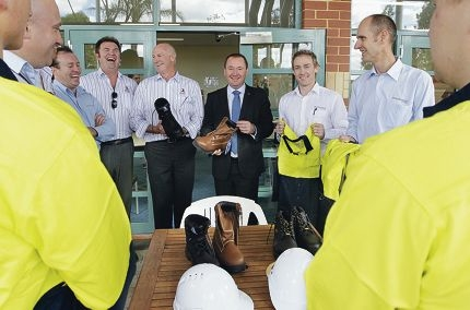 Dennis Lillee, Corrective Services Minister Joe Francis and Michael Braun. Picture: Martin Kennealey d409299
