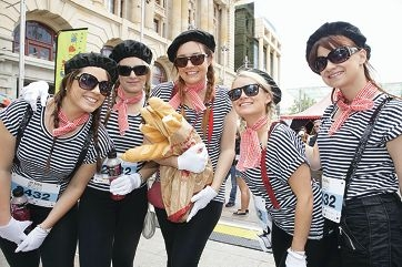 Soco Realty South Perth's 2012 Ramble team Angela Woodley, Natalie Steel, Jessica Kidd, Pru Harries and Helen Cuijpers in finest Parisian garb.