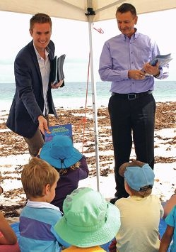 Ocean Reef MLA Albert Jacob hands out information about Australia's marine parks.