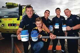 LtoR: Steve McCarthy (Leading Fire Fighter), Jamie McCarthy (8yrs, Steve's Son), Matt Poppas (Fire Fighter), Sam Cleasby (Fire Fighter), Tim Lewis (Fire Fighter)
