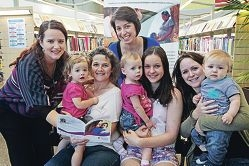 Swan Peri-natal and Infant Mental Health Project officers Kristie Ponchard and Kim Hamilton with mums Andrea Shakles, Ebony Ward and Jo Saunders and their babies. Picture: Bruce Hunt d409382