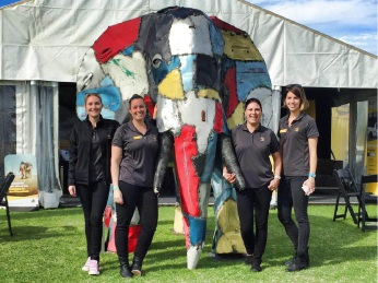 RAC staff Georgina Forde, Janaya Kershaw, Natalie Wong and Lauren Brophy spreading the safety message with the elephant.